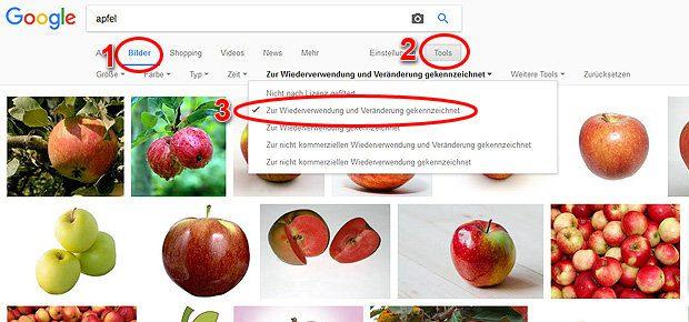 Die Google Bildersuche bietet auch die Suche nach lizenzfreien Bildern und Fotos an. Das Tool dafür heißt