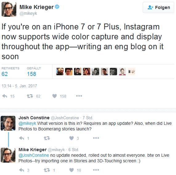 Mike Krieger gibt die Änderungen in Instagram für Nutzer des iPhone 7 und iPhone 7 Plus bekannt. Quelle: Twitter