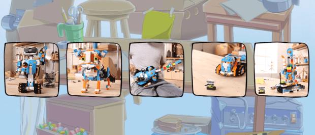 Lego Bost Bust Anwendungen Screenshot-Ausschnitt der offiziellen Lego Boost Webseite mit Beispielen für die Anwendung des Sets, das ab August 2017 erhältlich ist.