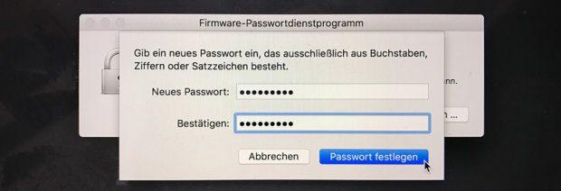 Passwort für den Mac: Firmware Password für macOS Sierra aus Buchstaben, Ziffern und Satzzeichen.