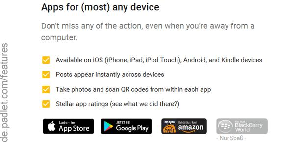 Alle Padlet Features gibt es in der Gesamtheit auf der verlinkten Webseite. Alternative zu TitanPad? Auf jeden Fall!