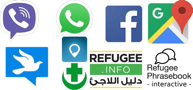 Apps for Refugees: diese Apps werden von Flüchtlingen (oft) genutzt, um sich zu informieren und um zu kommunizieren. (Bilderquelle: Play Store)