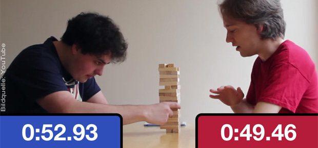 Schachuhr Jenga - eine fixe YouTube-Idee, die ihr mit einer Schachuhr App fürs iPhone und einem Jenga-Turm nachmachen könnt. (Video: s. u.)
