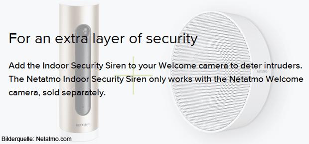 Die Netatmo Innenraumsirene kann mit der seperat verkauften Welcome Kamera des Herstellers verwendet sowie ins Smart Home (per HomeKit) eingebunden werden.