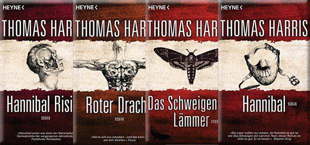 Die Hannibal Bücherserie von Thomas Harris gibt's von HEYNE im zueinander passenden Design - Bilder: Amazon