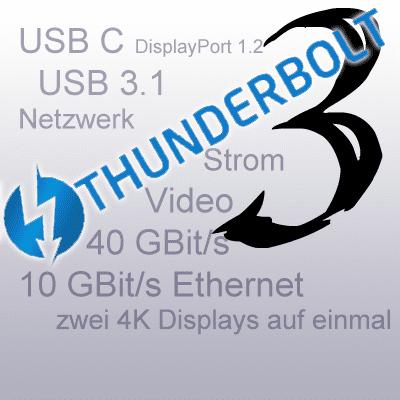 Thunderbolt 3, USB C 3.1, VGA, HDMI, 40 GBit / s, 4K Display, 5K Monitor, Datenübertragung