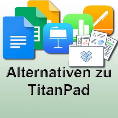 TitanPad Alternative 2017 2018 Dropbox Paper, Google Paper, Apple Pages, Numbers, Keynote, iWork über iCloud, Google Drive
