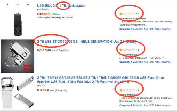 Bei diesen USB Sticks mit 1TB bzw. 2 TB Kapazität handelt es sich mit großer Sicherheit um Fakes. Für die Preise bekommt man kaum gute 64 GB Stick und die schlechten Kundenbewertungen zeigen deutlich, was hier Sache ist (Screenshot: Amazon).