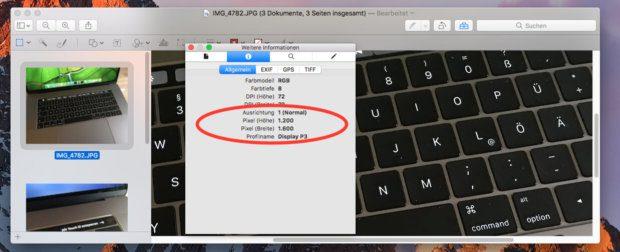 Das Info-Fenster in der Vorschau-App zeigt, ob die Größenveränderung funktioniert hat.