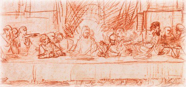 Leonardo da Vincis Abendmahl, skizziert von Rembrandt (Auszug). Wo ich das Bild lizenzfrei und kostenlos für diesen Blog bekommen habe, erfahrt ihr in diesem Ratgeber ;)