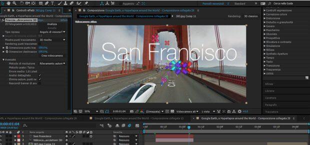 """Screenshot von Adobe After Effects zeigt den Aufwand hinter der """"Kamerafahrt"""" in San Francisco, die ihr im Google Maps Hyperlapse Video von Matteo Archondis sehen könnt. Quelle: PetaPixel.com"""