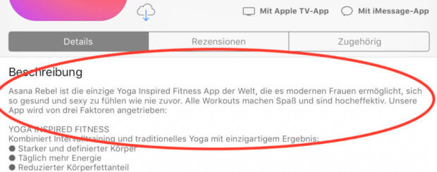 Laut App-Beschreibung ist die Asana Rebel Yoga-App leider nix für Männer – schade eigentlich. :(