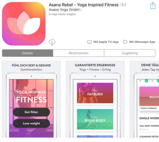 Die Asana Rebel App findet man im App-Store sowohl für das iPhone als auch für das iPad.