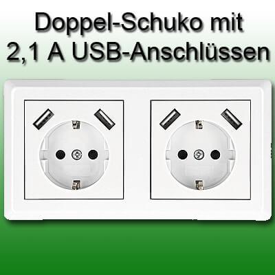 Minadax Doppelsteckdose mit 4 USB Anschlüssen zum Aufladen von iPhone und iPad 5V 5 Volt 2,1A 2,1 Ampere