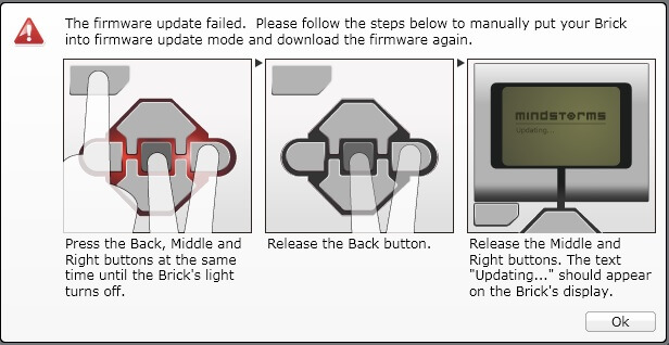 Anleitung für einen Hardware-Reset des Lego EV3 Steins.