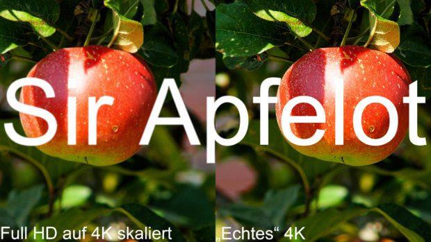 Auf 4K hochskaliertes Full HD sieht nicht so gut aus wie original in 4K aufgenommenes Material.