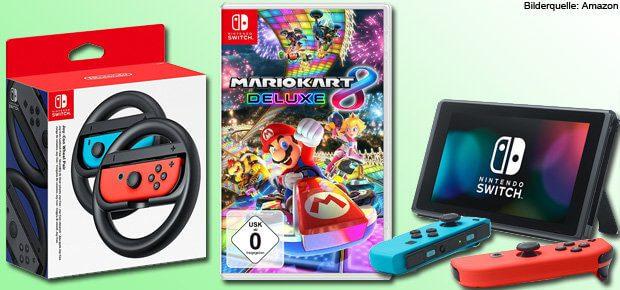 Bei Amazon könnt ihr Mario Kart 8 Deluxe für die Nintendo Switch zum Release vorbestellen. Zudem kommen am 28. April 2017 die Joy-Con Lenkräder in den Handel.