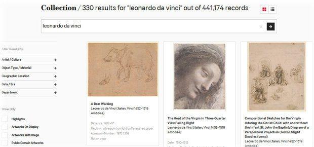 Die Suche beim Metropolitan Museum of Art ergibt 330 Treffer auf der Suche nach da Vinci, aber auch Studien seiner Werke (s. o.) sind dabei. Insgesamt bekommt ihr mehr als 441.000 Kunstwerke und Bilder / Fotos von Kunst unter CC0 Lizenz!