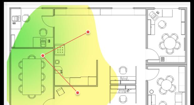 Mit NetSpot könnt ihr eine Heat Map des WLANs in Büro, Wohnung und so weiter erstellen, um Probleme mit dem Wifi zu lösen oder den Gästen den besten Platz aufzuzeigen. (Quelle der Bilder: NetSpot Webseite)