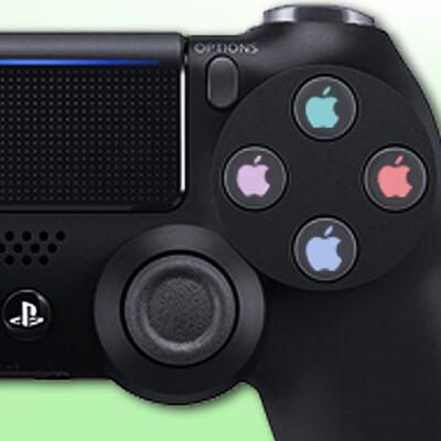 Mit dem PS4 Controller am Mac spielen? Das geht per USB oder Bluetooth. Hier eine Anleitung zum Verbinden von PlayStation 4 Controller und Apple Computer. (Bild: Amazon, Apfel-Montage: Johannes Domke)
