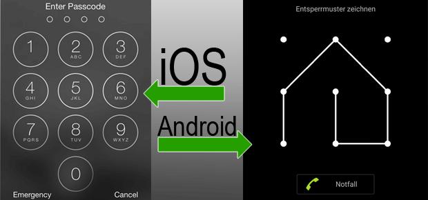 Unter iOS für iPhone und iPad lässt sich ein sechsstelliger PIN einrichten; bei Android Smartphones und Tablets ist es ein Entsperrmuster mit max. 9 Kontaktpunkten. Das Haus vom Nikolaus ist damit theoretisch möglich...