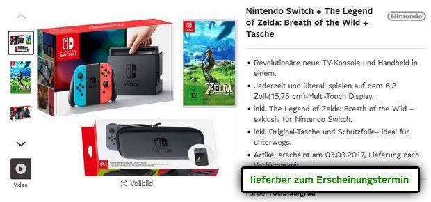 Gefunden bei OTTO.de: Nintendo Switch, The Legend of Zelda - Breath of the Wild, Schutztasche und Schutzfolie für den Handheld - alles im Bundle für den üblichen Preis und lieferbar zum Release am 3. März 2017.