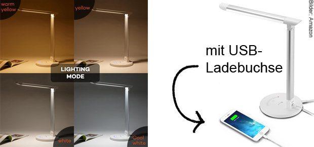 Die TaoTronics LED Schreibtischlampe TT-DL 13 mit dimmbarem Licht in verschiedenen Farben und mit USB Anschluss zum Laden von Geräten gibt's u. a. bei Amazon.