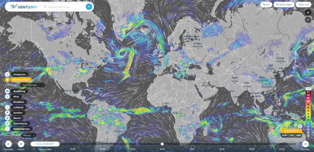 Ventusky Screenshot vom stationären Rechner - ihr seht die Visualisierung des Wetters mit vielen Details und für die ganze Welt. (Klicken zum Vergrößern)