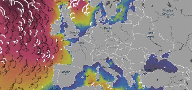 Die Wellen der Europa umgebenden Meere auf der Wetterkarte von Ventusky. Vizualisation of Weather 2017 - weather to share as map on facebook and twitter
