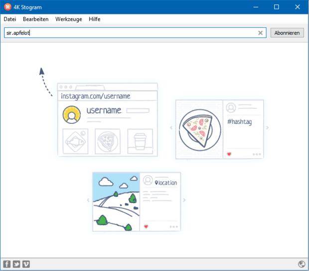 Nutzeroberfläche der 4K Stogram App für Mac, Windows PC und Linux Rechner