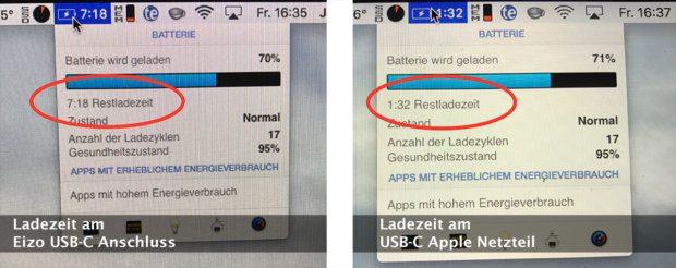 Ladezeiten im Vergleich: Links MacBook am Eizo EV2780 Monitor aufladen und rechts am Apple USB-C Netzteil. Ein deutlicher Unterschied, bedingt durch die geringe Ausgangsleistung der USB-C-Ports am Eizo Monitor.