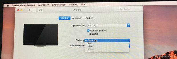 Pivot Funktion in der Praxis: Unter macOS erscheint nach dem Anschluss des Eizo EV2780 die Möglichkeit, die Drehung des Monitors einzustellen.