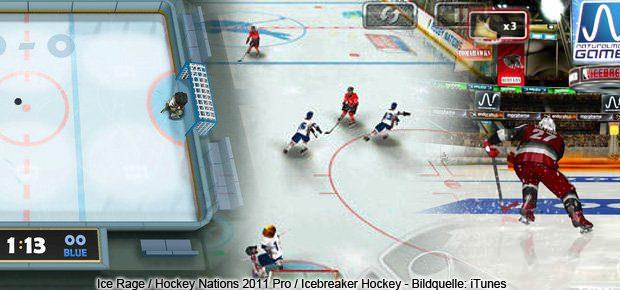 Drei der fünf hier aufgelisteten Hockey- und Eishockey-Spiele für iPhone und iPad als Screenshot.