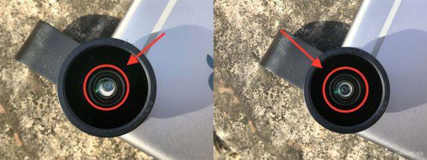 An einem iPhone 6 mit einem silbernen Rücken kann man gut sehen, ob das Objektiv richtig über der Kameralinse zentriert ist: links falsch und rechts richtig.