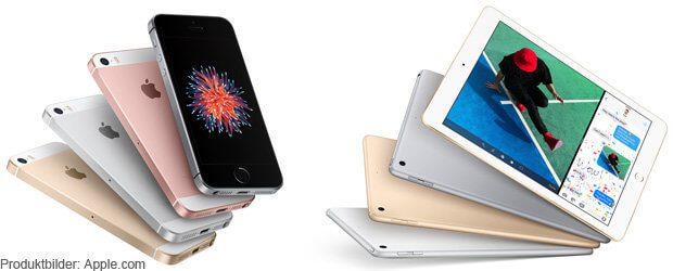 iPhone SE mit doppeltem Speicher und neues iPad mit A9 Prozessor - die neuen Apple Angebote ab dem 24. März 2017.
