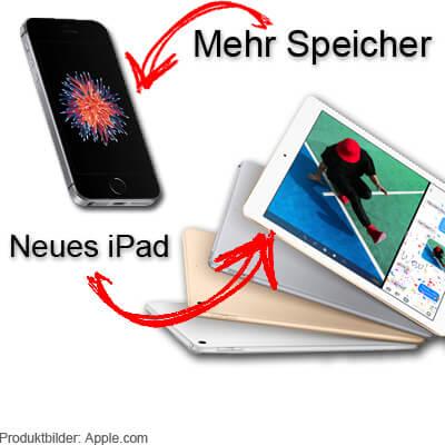 iPhone SE mit mehr Speicher, doppelter Speicherplatz gleicher Preis, neues Apple iPad mit A9 Prozessor 2017