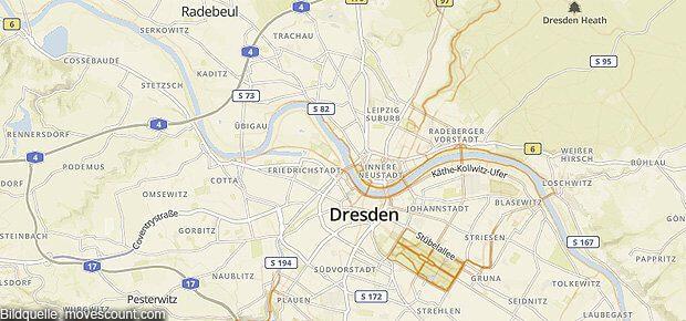 Die Movescount Sport Heatmap für den Raum Dresden. Hier sieht man schön die Laufstrecken, Joggingrouten, Radlerwege und Inlinekurse rund um Elbe, Großer Garten und Dresdner Heide.