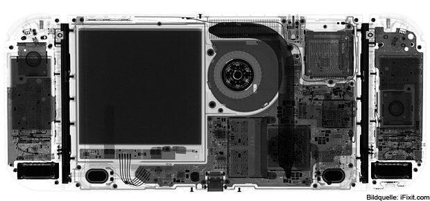 Erstmal röntgen: Die Hardware der Nintendo Switch ohne Aufschrauben. Deutlich sieht man das Kühlsystem inkl. Lüfter, keine Tasten außer den Joysticks, die Akkus der Joy-Con Controller und als großes Quadrat den Akku des Handheld (16 Wh; 3,7 V; 4.310 mAh).