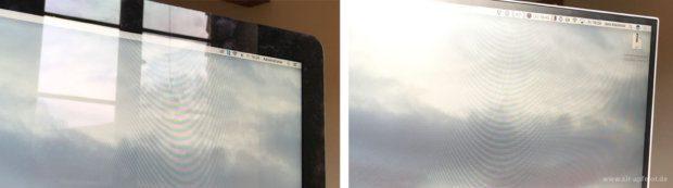 Ein Vergleich, der ein bisschen praxisfern ist, aber die Antireflex-Eigenschaften des Eizo gut zeigt: Links das Glossy-Display des iMac und rechts das matte Display des Eizo FlexScan. Die Muster sind durch die Fotografie mit dem iPhone entstanden und sind in de Realität nicht für das Auge sichtbar.