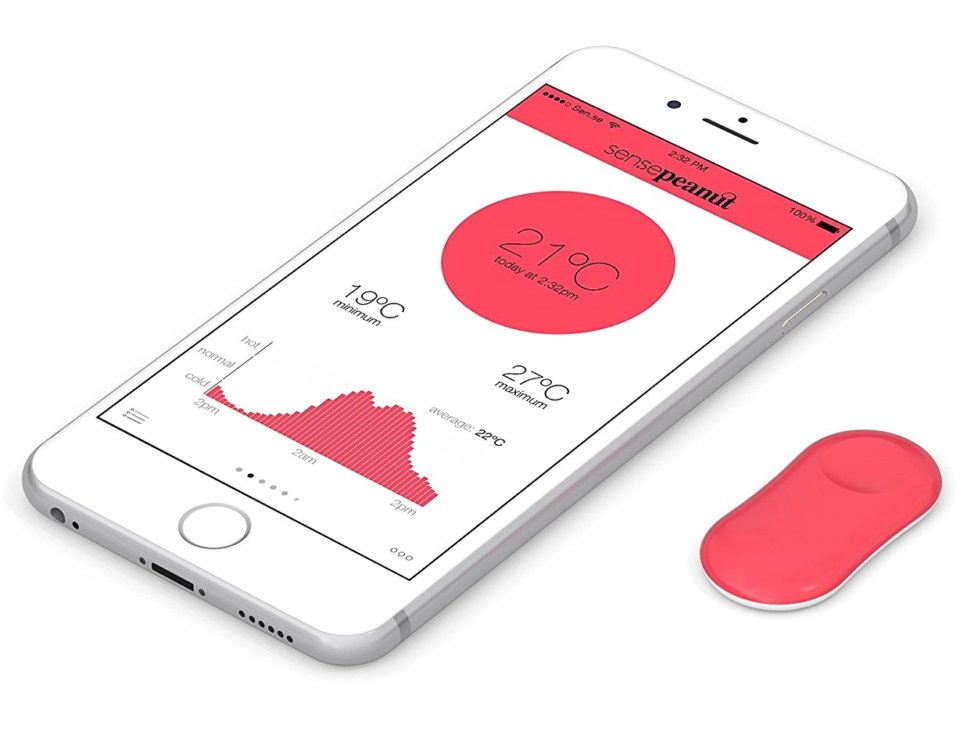 Sense ThermoPeanut, Sen.se Sen-se, Thermo Peanut, Bluetooth Thermometer, Android iOS App Smartphone Tablet iPhone iPad