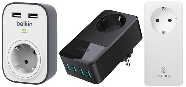 USB Ladegerät mit Schuko-Steckdose, AUKEY, Belkin, Icy Box, Schuko und USB Ports, Reise, Urlaub Ladegerät für mehrere USB Geräte Smartphone Tablet Kamera