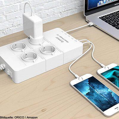 Steckdosenleiste mit USB Ladegerät, Steckdosenverteiler Schuko mit USB Anschlüssen zum Laden von Smartphone Tablet MacBook Kamera