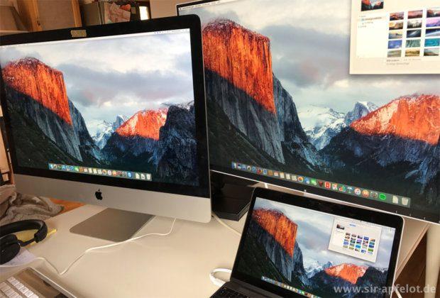 Selbst im direkten Verlgeich mit dem 5K iMac von Apple schlägt sich der Eizo FlexScan wacker. Man kann mit blossem Auge kaum einen Unterschied bei der Farbwiedergabe erkennen.