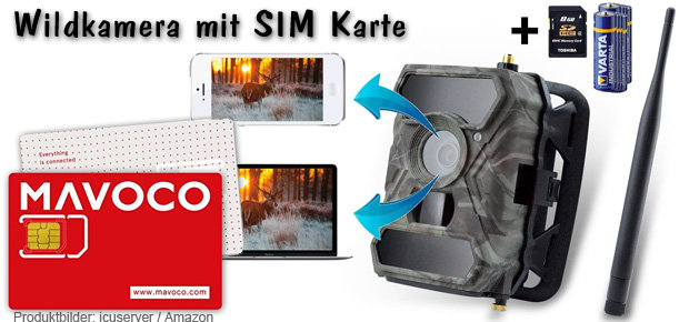 Wildkamera mit SIM Karte: Das Beispiel von icuserver scheint mir das beste Modell zu sein - eine sehr gut bewertete Fotofalle für Tag und Nacht, die jedes Foto direkt per 3G Mobilfunk aufs Smartphone schickt.