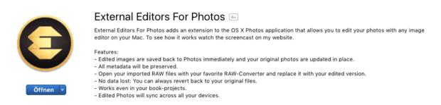"""Im Mac-App-Store findet man des Programm unter dem Namen """"External Editors For Photos"""". Derzeit kostet er 99 Cent, was quasi fast geschenkt ist, wenn man täglich dadurch Zeit einsparen kann."""