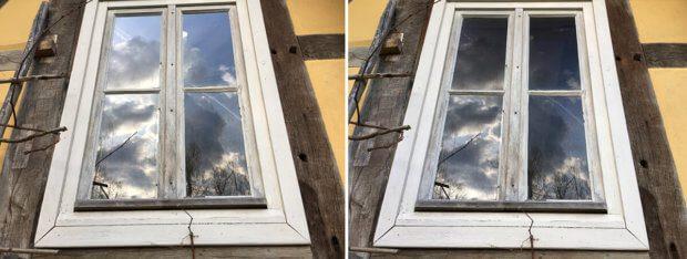 Auch bei den Fotos von einem Fenster sieht man, wie der Polarisationsfilter rechts einen Teil der Spiegelungen schluckt und den dunklen Raum dahinter frei gibt.