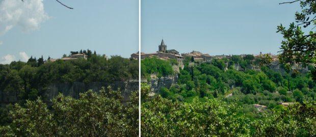 Ein Landschaftsfoto, das in Frankreich gemacht wurde. Ich finde es faszinierend, wie plastisch die Büsche im Vordergrund durch die Überarbeitung werden. Auch der Himmel bekommt einen schöneren, aber realistischen Blauton.