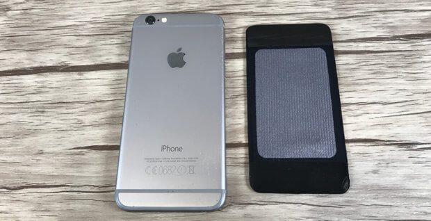 Hier sieht man die iPhone 6 Rückseite und das Backpad für das iPhone 7, das von der Größe problemlos passt.