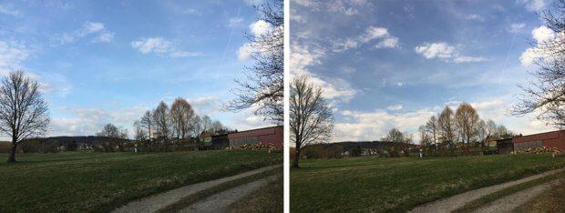 Als letztes hier noch ein Landschaftsfoto im Vergleich: Links ohne Filter und rechts mit CPL-Filter. Man sieht zum einen viel mehr Struktur in den Wolken und ein tieferes Blau im Himmel, aber wenn man genau hinsieht, erkennt man auch, dass die Wiese und die Äste der Bäume einen deutlich wärmeren Farbton bekommen haben.