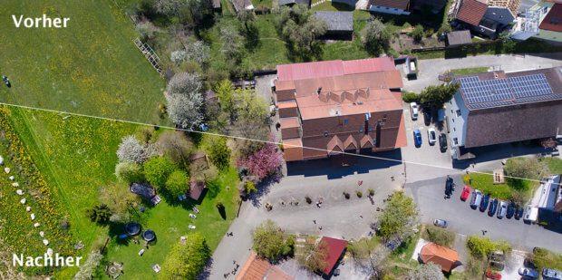 Luftbild von einem Ferien-Bauernhof: Die untere Hälfte ist von Photolemur und oben das Original… der Unterschied ist deutlich.